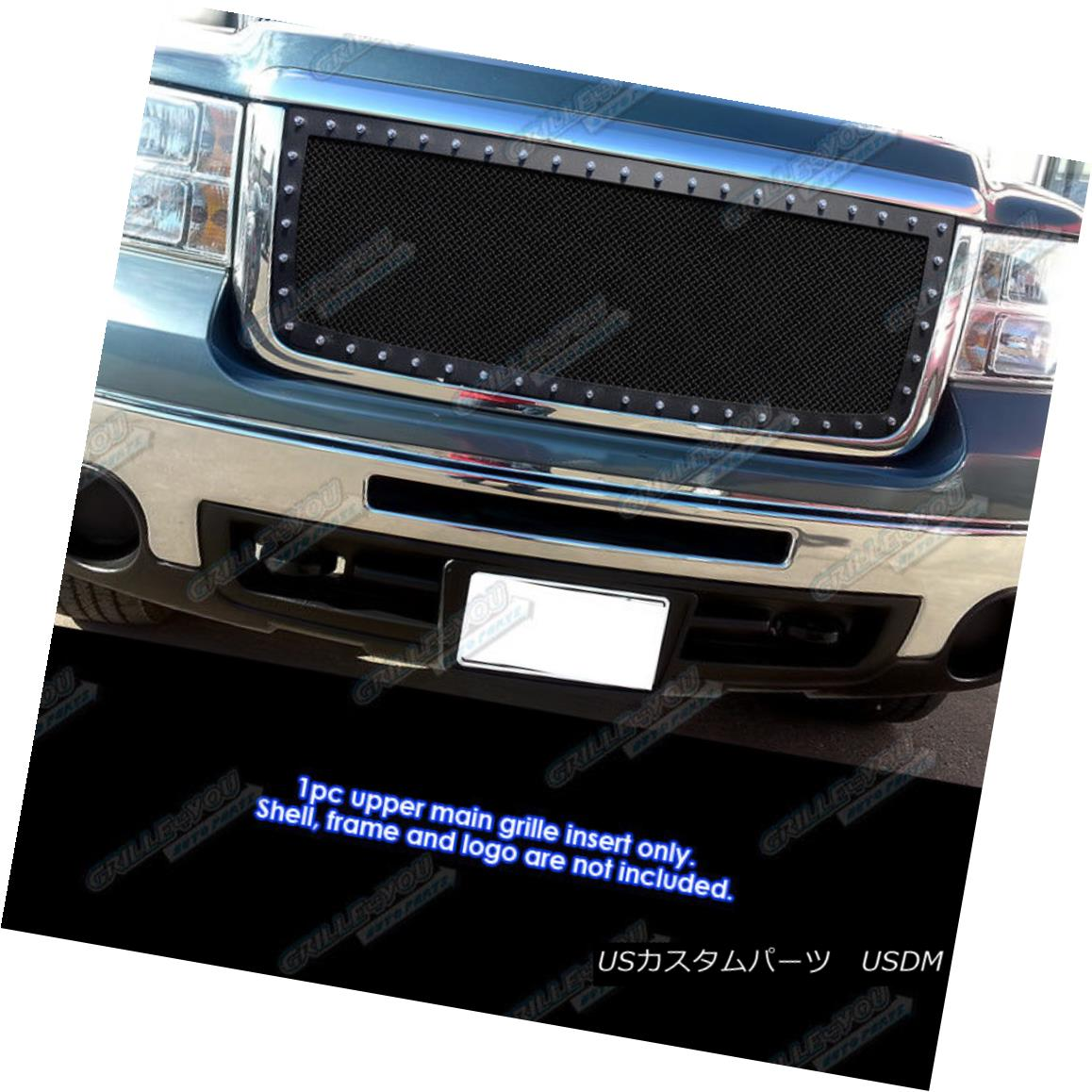 グリル For 2007-2010 GMC Sierra 2500 HD/ 3500 HD Stainless Black Rivet Mesh Grille 2007-2010 GMC Sierra 2500 HD / 3500 HDステンレスブラックリベットメッシュグリル