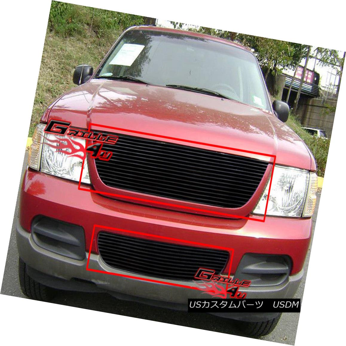 グリル Fits 2002-2005 Ford Explorer Black Billet Grille Combo フィット2002-2005フォードエクスプローラーブラックビレットグリルコンボ