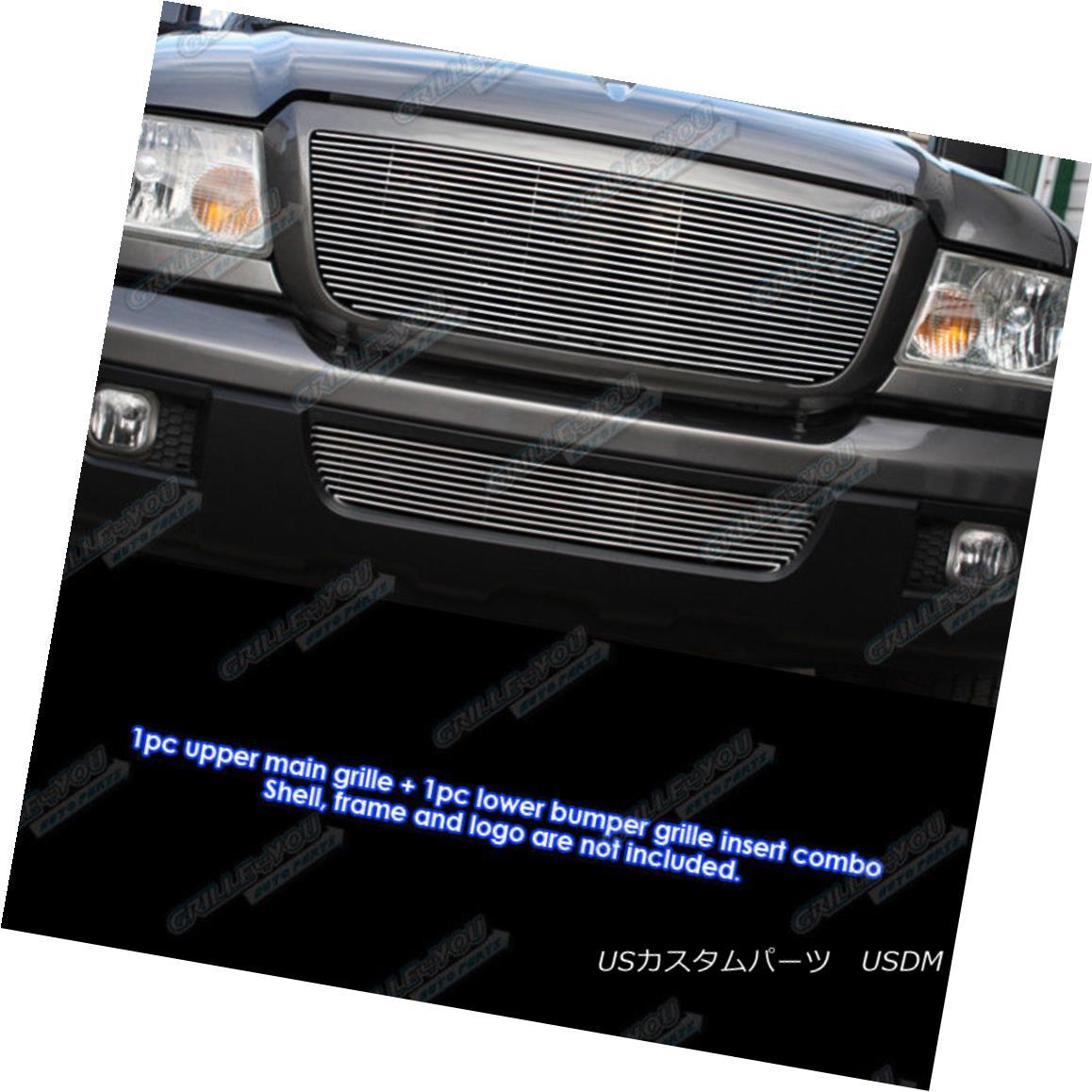 グリル Fits 06-11 2011 Ford Ranger Billet Grille Combo Upper+Lower フィット2011年6月11日フォードレンジャービレットグリルコンボアッパー+ロワー