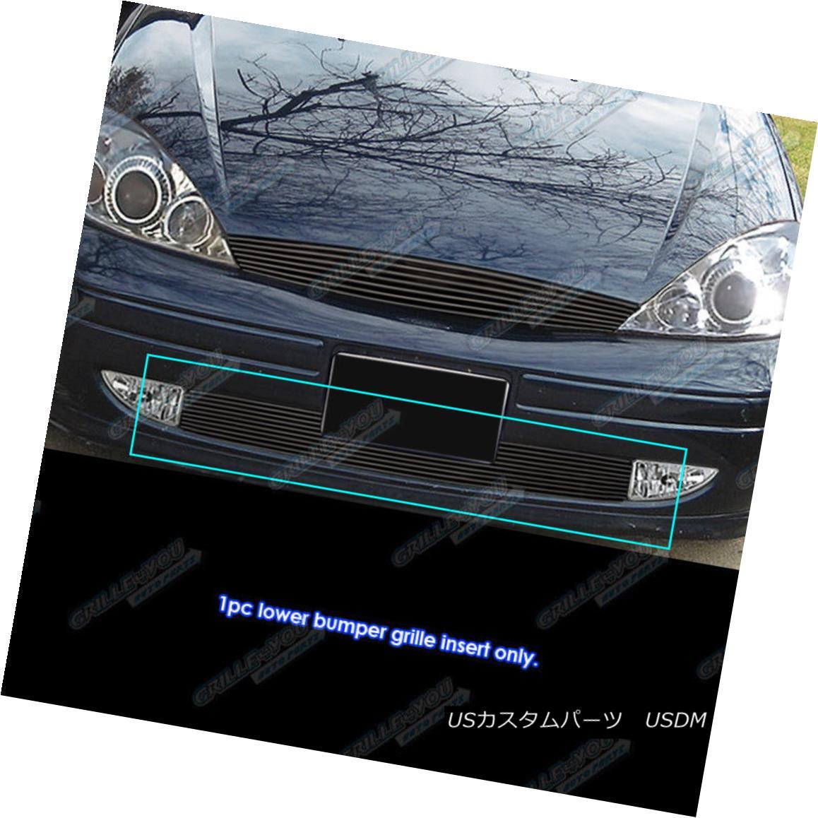 グリル Fits 2000-2004 Ford Focus With Fog Light Bumper Black Billet Grille Grill Insert フォギーライトバンパーで2000-2004 Ford Focusに合うブラックビレットグリルグリルインサート