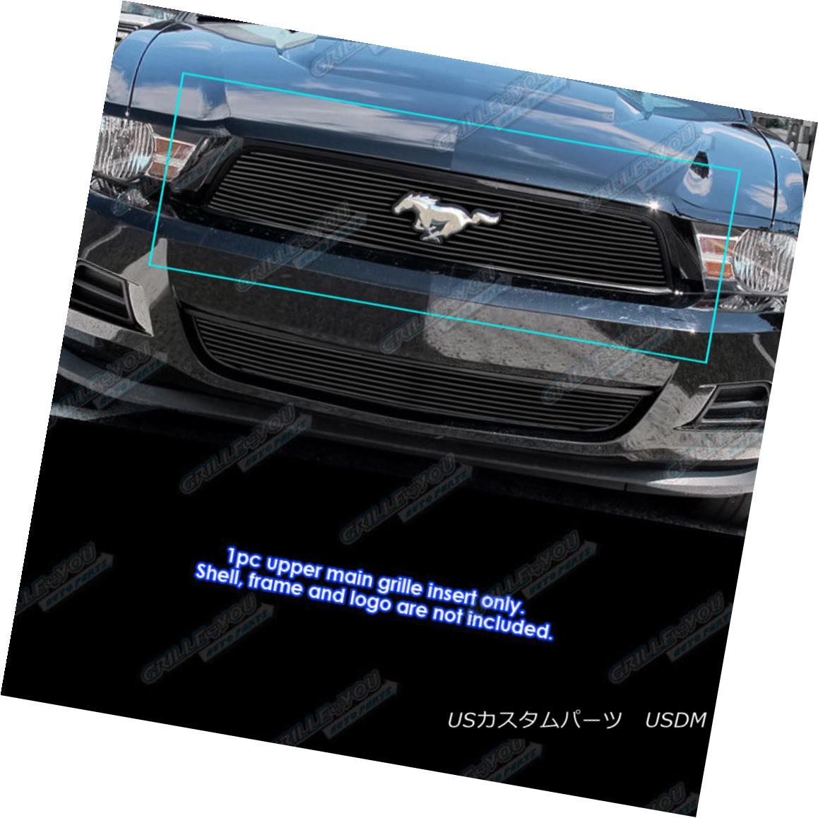 グリル Fits 2010-2012 Ford Mustang Black Billet Grille Insert with Logo Show V6 Only フィット2010-2012フォードマスタングブラックビレットグリルインサートロゴショーV6のみ