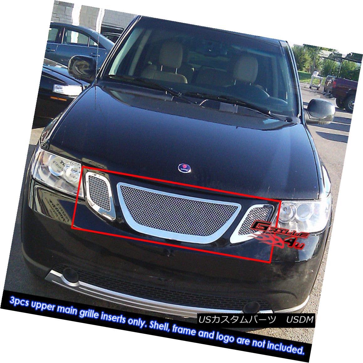グリル Fits 07-10 Saab 9-7X Stainless Steel Mesh Grille Insert 07-10 Saab 9-7Xステンレスメッシュグリルインサートにフィット