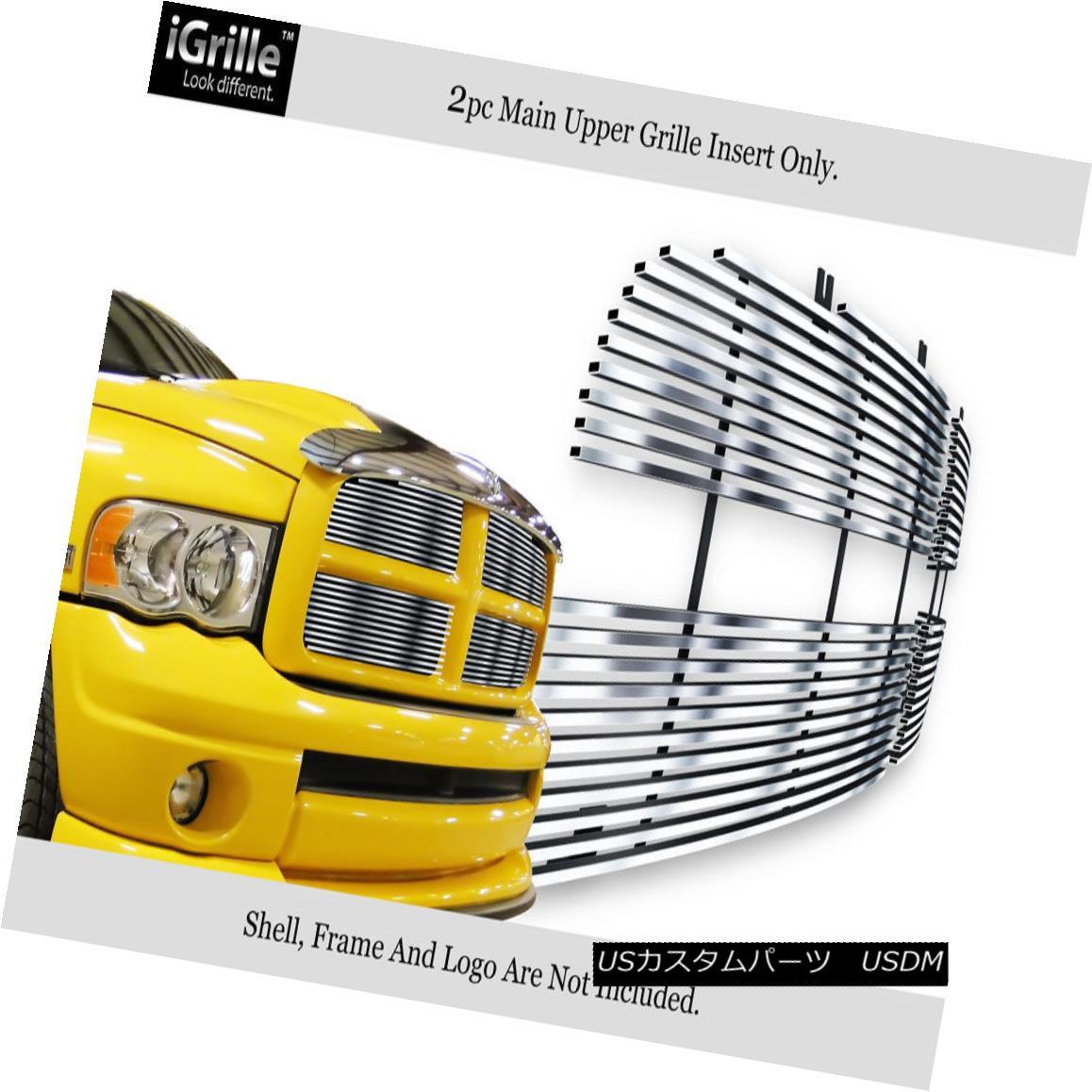 グリル Fits 02-05 Dodge Ram Stainless Steel Main Upper Billet Grille Insert フィット02-05ダッジラムステンレススチールメインアッパービレットグリルインサート
