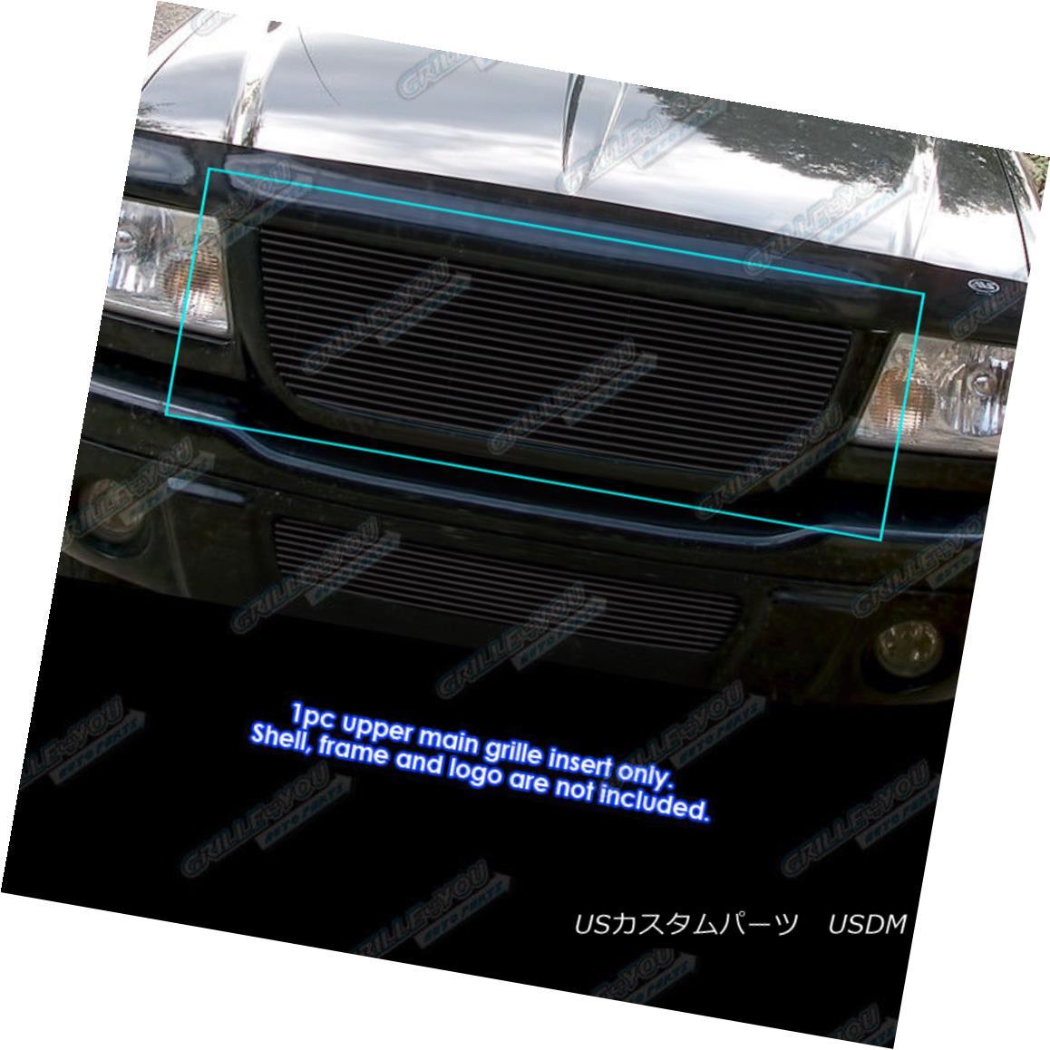 グリル Fits 2001-2003 Ford Ranger Edge/XLT 4WD Black Billet Grille Insert Open Top Only フィット2001-2003フォードレンジャーエッジ/ XLT 4WDブラックビレットグリル挿入トップトップのみ