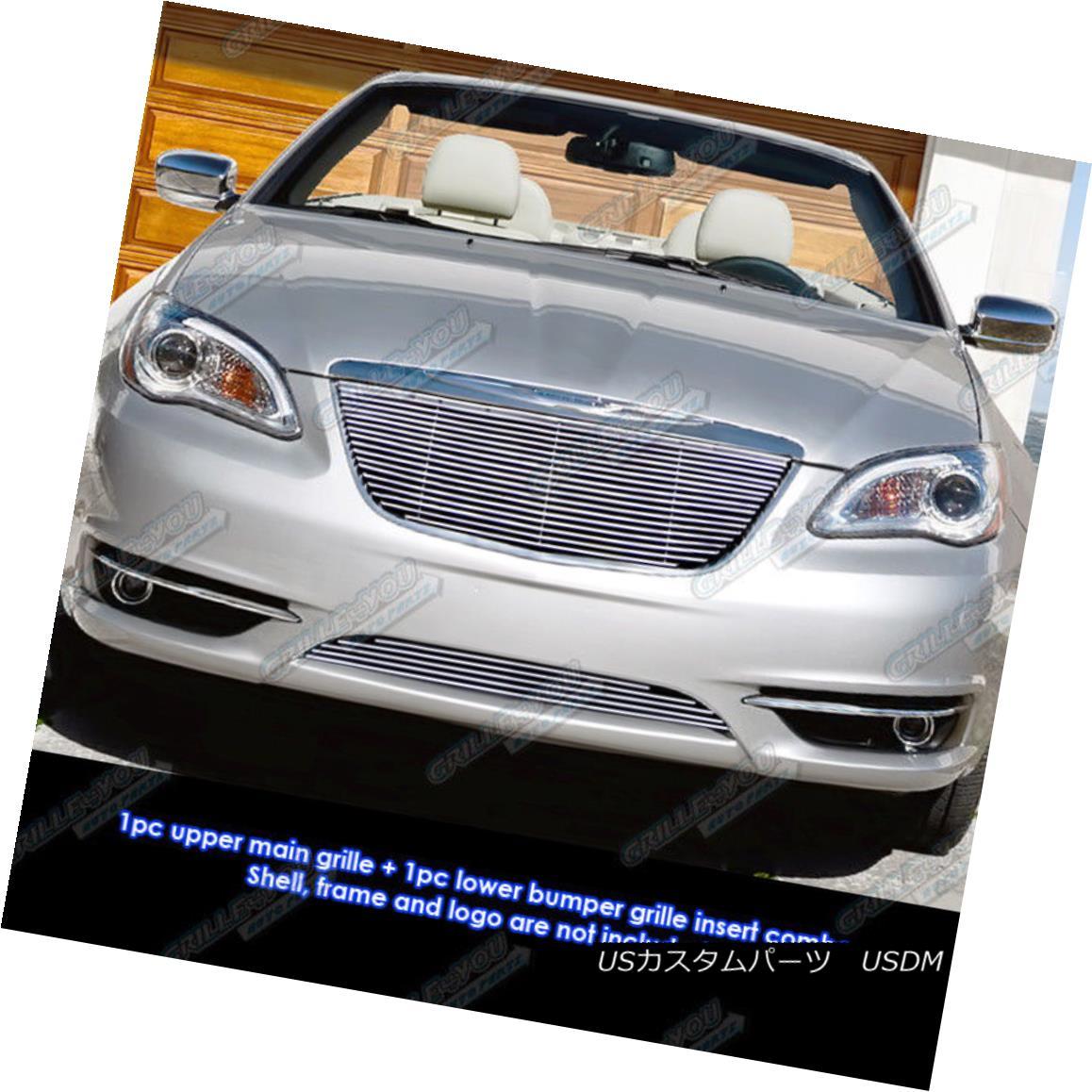 グリル Fits 2011-2014 Chrysler 200 Billet Grille Grill Insert Combo 2011-2014年に適合するクライスラー200ビレットグリルグリルインサートコンボ