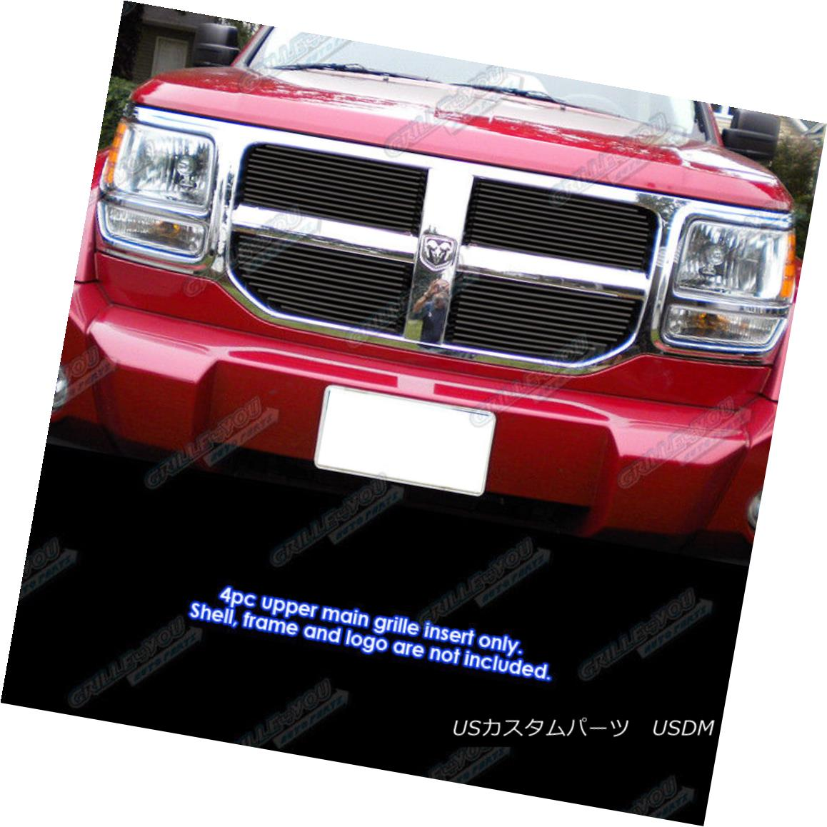 グリル Fits 2007-2011 Dodge Nitro Black Main Upper Billet Grille Grill Insert フィット2007-2011ダッジニトロブラックメインアッパービレットグリルグリルインサート