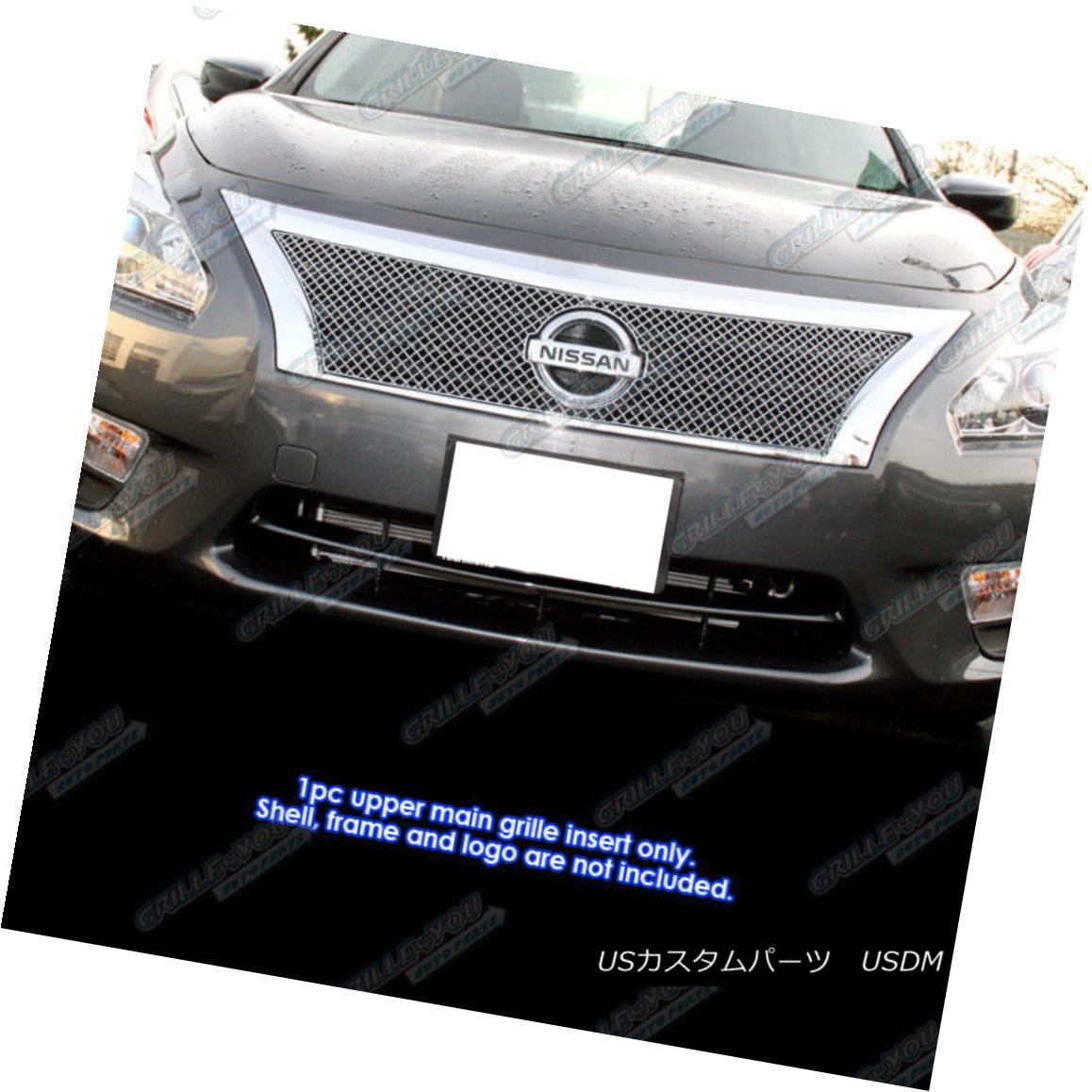 グリル Fits 2013-2014 Nissan Altima Stainless Steel X Mesh Grille Insert フィット2013-2014日産アルティマステンレス鋼Xメッシュグリルインサート