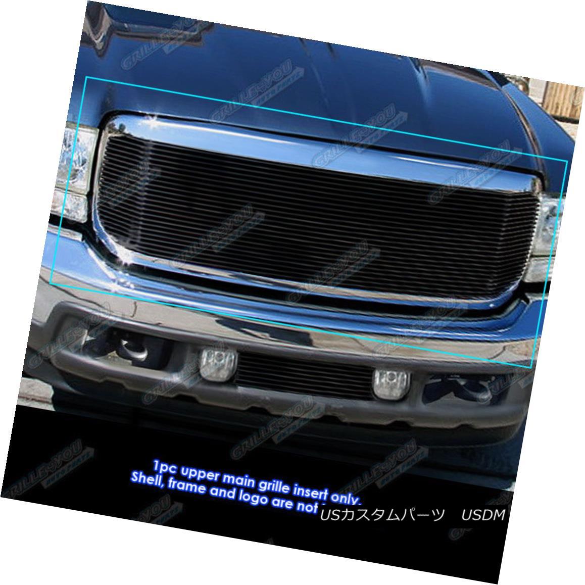 グリル For 99-04 Ford F250/F350 Super Duty/Excursion Black Billet Grille Grill Insert 99-04用Ford F250 / F350スーパーデューティ/エクスカーションブラックビレットグリルグリルインサート