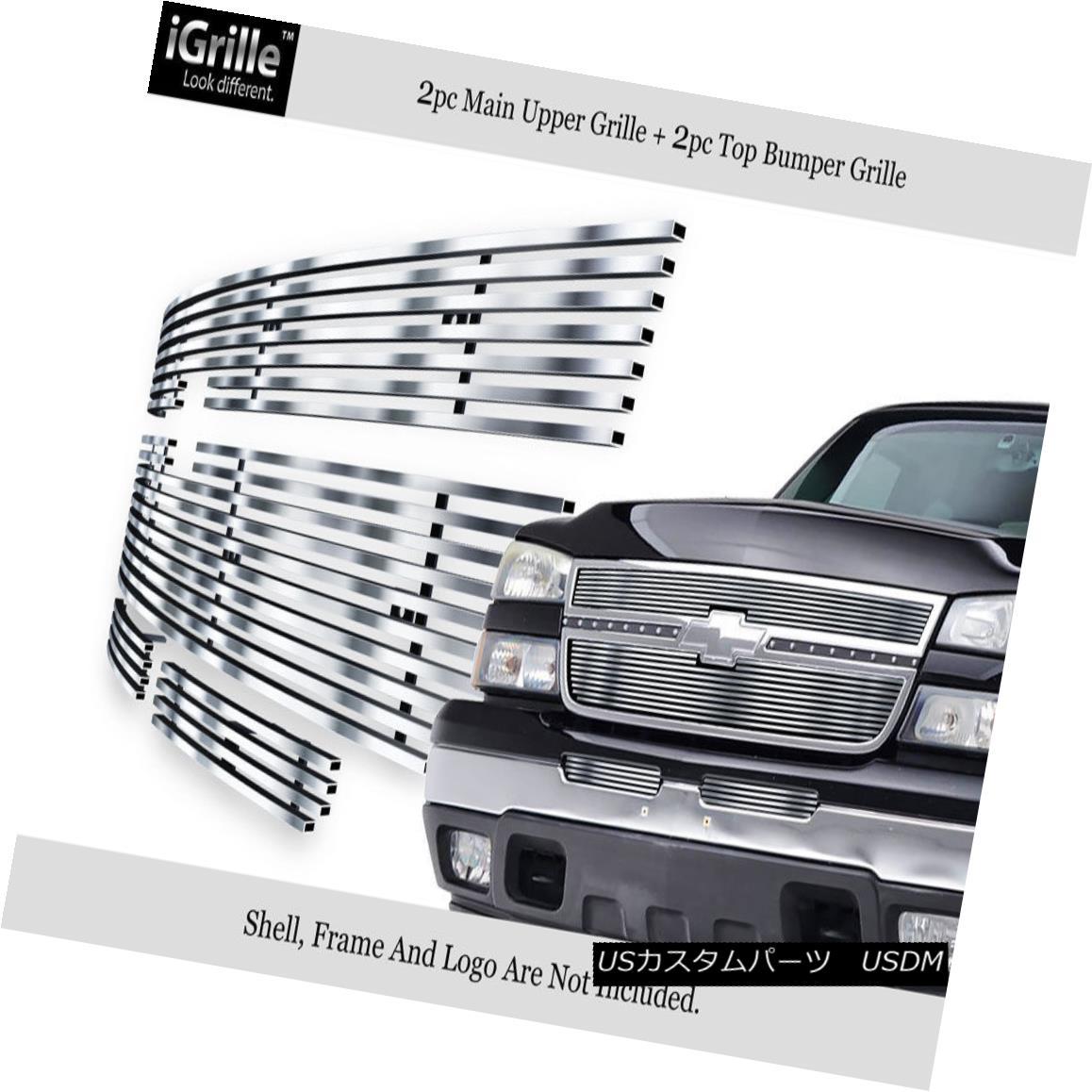 グリル 304 Stainless Billet Grille Combo Fits 06 Chevy Silverado 1500/05-06 2500HD 304ステンレス・ビレット・グリル・コンボ・フィット06 Chevy Silverado 1500 / 05-06 2500HD
