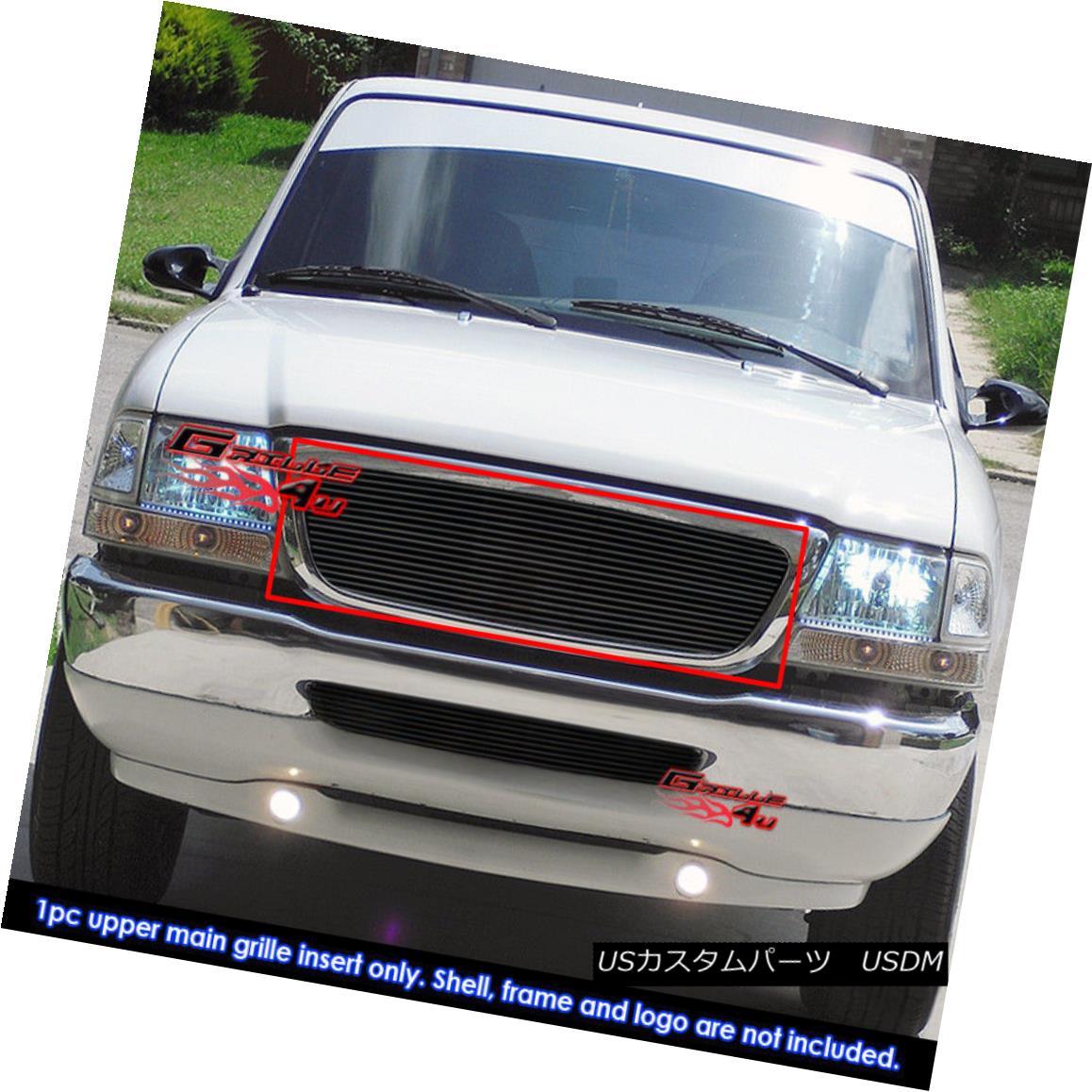 グリル Fits 1998-2000 Ford Ranger Black Main Upper Billet Grille Insert フィット1998-2000フォードレンジャーブラックメインアッパービレットグリルインサート