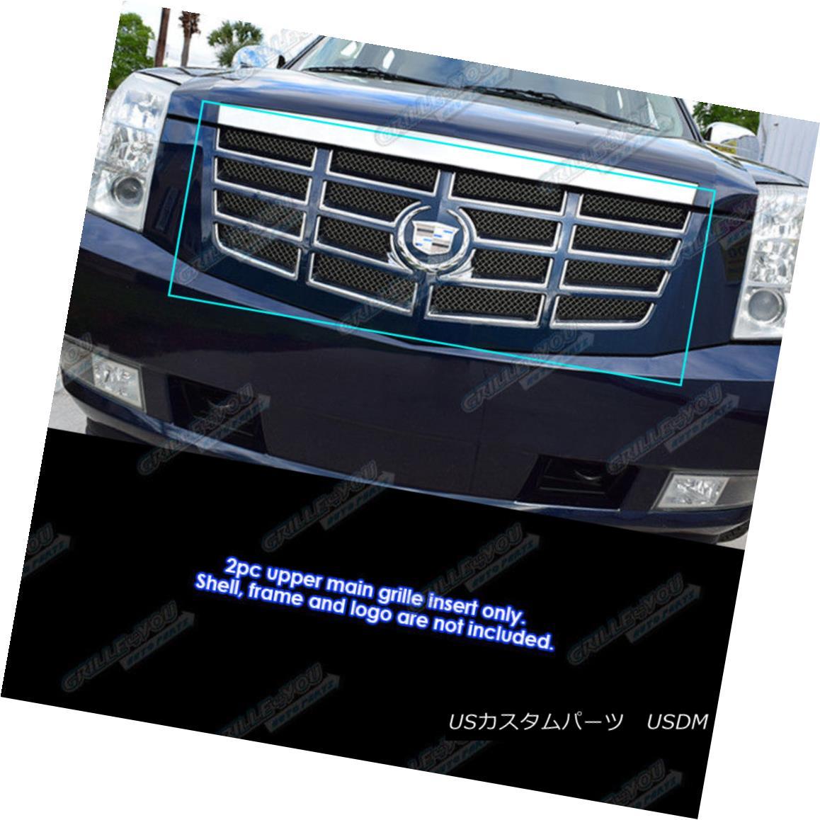グリル Fits 2007-2014 Cadillac Escalade Stainless Steel No Frame Black Mesh Grille フィット2007-2014キャデラックエスカレードステンレススチールなしフレームブラックメッシュグリル