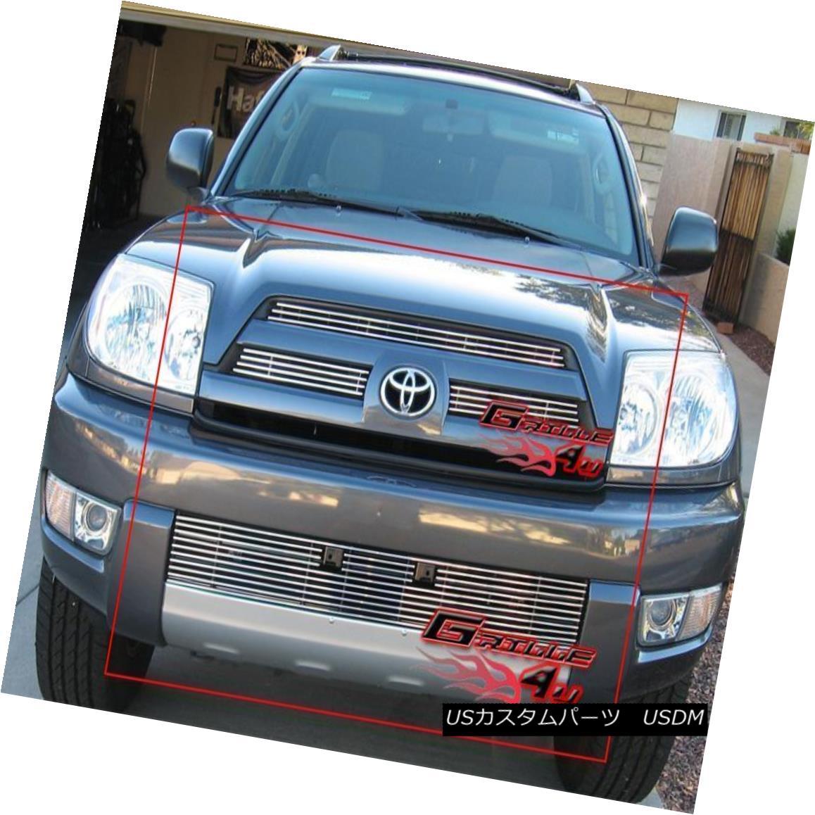 グリル Fits 2003-2005 Toyota 4Runner Billet Grille Combo 2003-2005トヨタ4Runnerビレットグリルコンボフィット