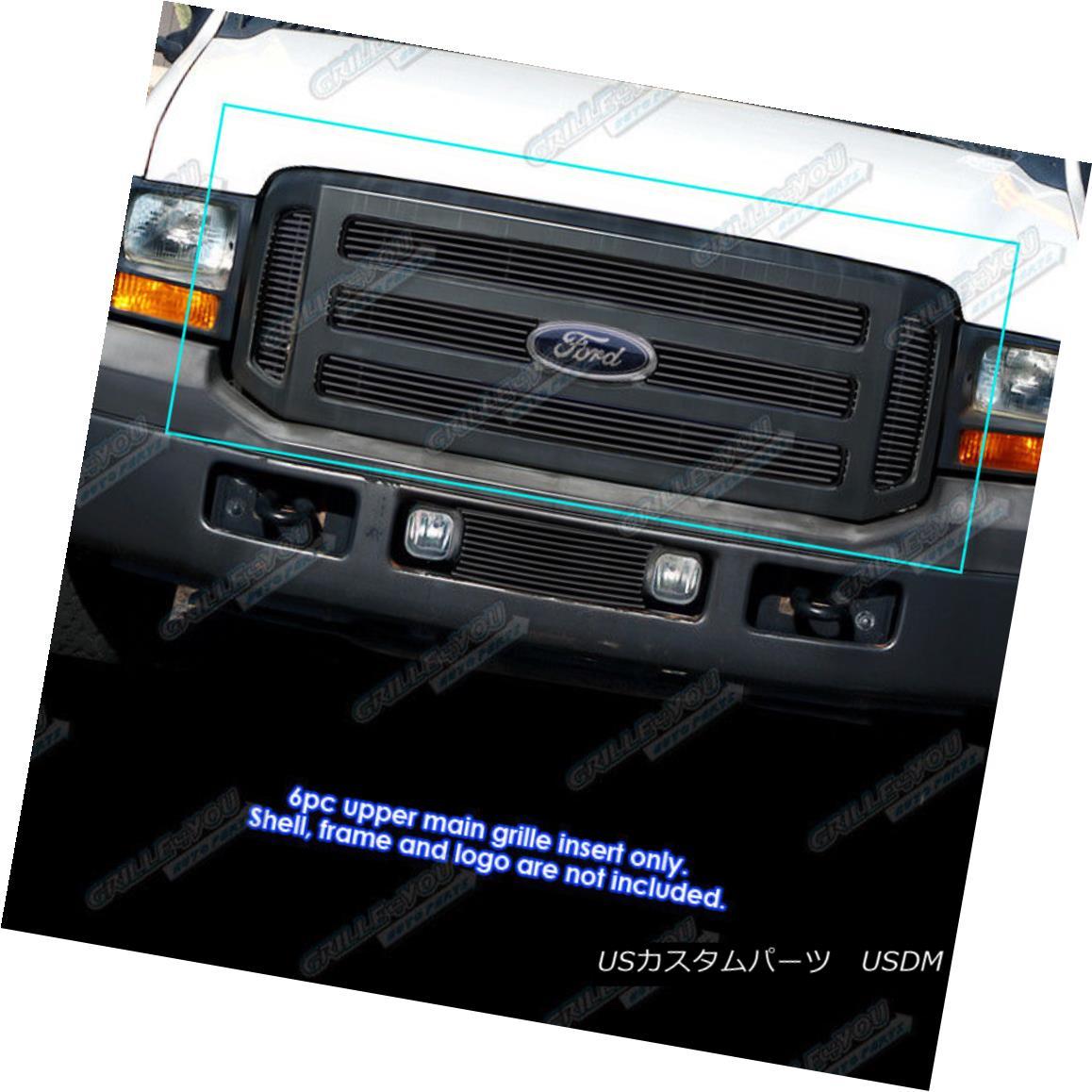 グリル Fits 05-07 Ford F250/F350/Excursion Black Main Upper Billet Grille フィット05-07 Ford F250 / F350 / Excu rsionブラックメインアッパービレットグリル