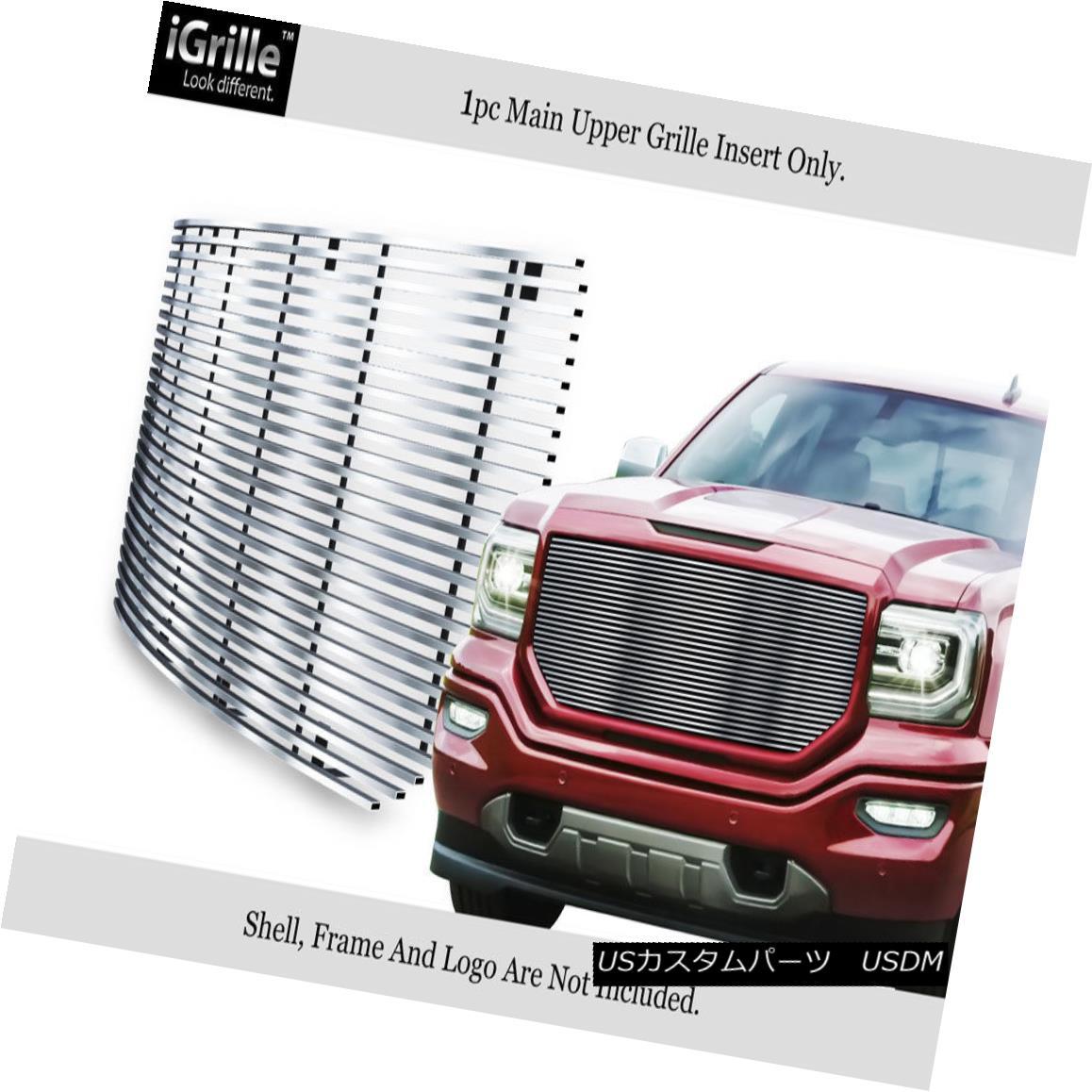 グリル Fits 2016-2017 GMC Sierra 1500 Stainless Steel Billet Grille フィット2016-2017 GMC Sierra 1500ステンレス鋼ビレットグリル