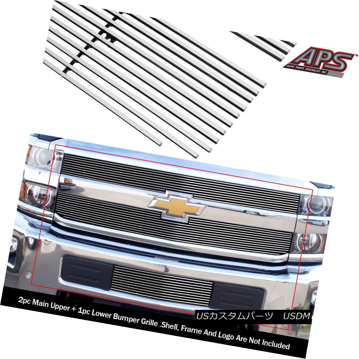 グリル For 2015-2018 Chevy Silverado 2500HD/3500HD Billet Grille Combo 2015-2018 Chevy Silverado 2500HD / 3500HDビレットグリルコンボ用