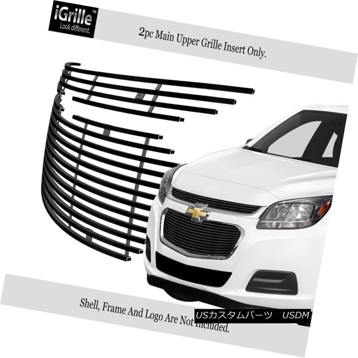 グリル Fits 2014-2015 Chevy Malibu Main Upper Stainless Black Billet Grille Insert フィット2014-2015シボレーマリブメインアッパーステンレスブラックビレットグリルインサート
