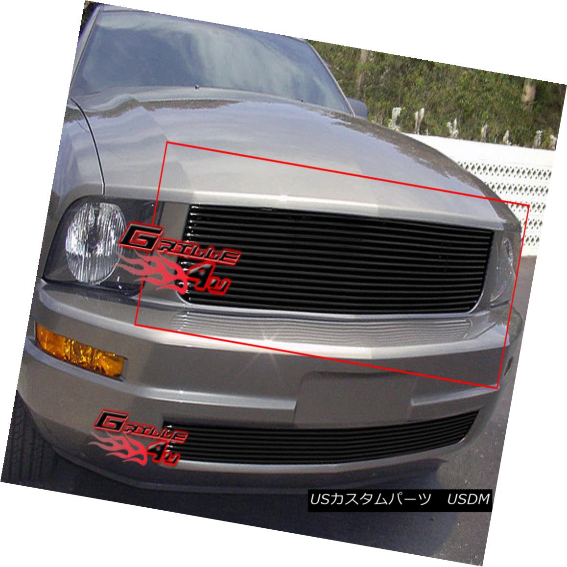 グリル Fits 2005-2009 Ford Mustang V6 Black Main Upper Billet Grille Insert フィット2005-2009フォードマスタングV6ブラックメインアッパービレットグリルインサート