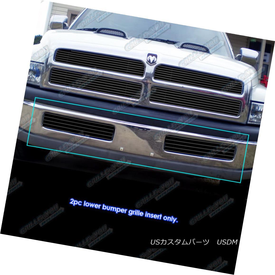 グリル Fits 1994-2001 Dodge Ram Regular Model Bumper Black Billet Grille Grill Insert フィット1994年から2001年ダッジラムレギュラーモデルバンパーブラックビレットグリルグリルインサート