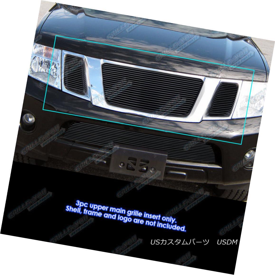グリル Fits 2008-2012 Nissan Pathfinder Black Billet Grille Grill Insert フィット2008-2012日産パスファインダーブラックビレットグリルグリルインサート
