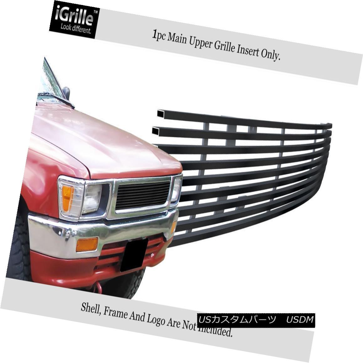グリル Fits 1992-1995 Toyota Truck 4WD Black Stainless Steel Billet Grille Insert フィット1992-1995トヨタトラック4WDブラックステンレス鋼ビレットグリルインサート