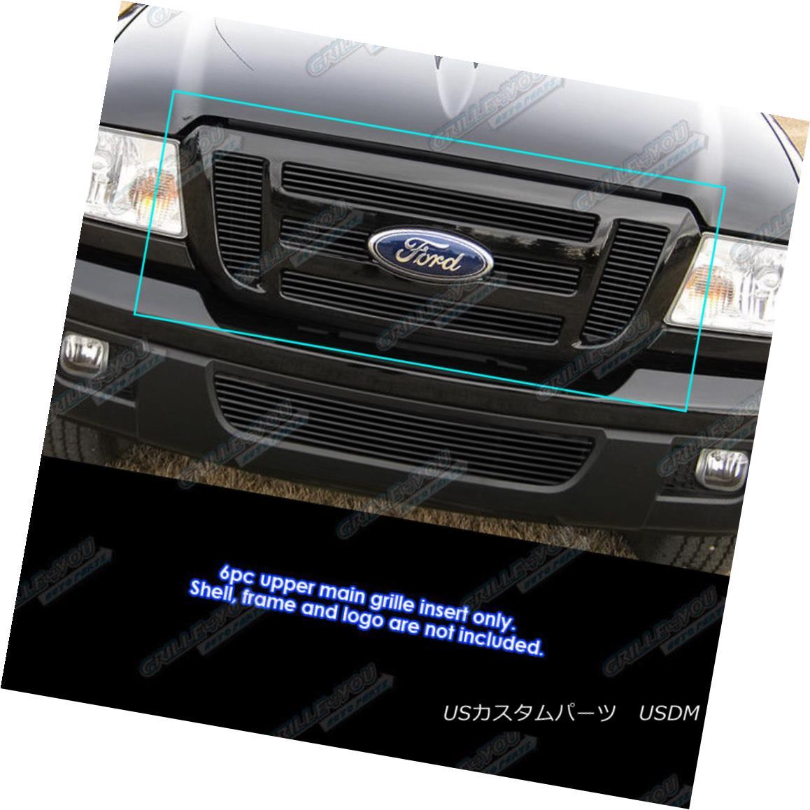グリル Fits 2006-2012 Ford Ranger FX4/XL/XLT Black Billet Grille Insert for 6 Panel 2006年から2012年までのフォードレンジャーFX4 / XL / XLT 6パネル用のブラックビレットグリルインサート