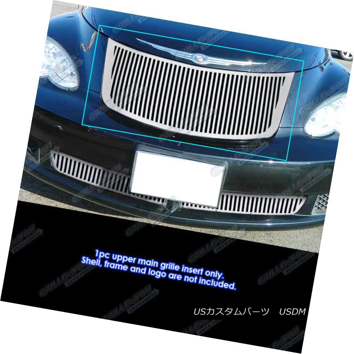 グリル Fits 2006-2010 Chrysler PT Cruiser Perimeter Vertical Grille Grill Insert 2006-2010年に適合するクライスラーPTクルーザー周辺垂直グリルグリルインサート
