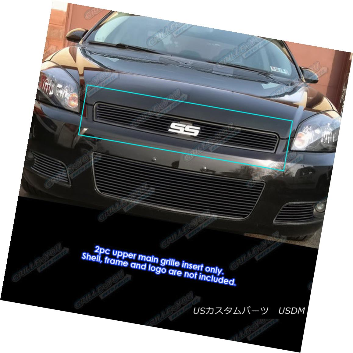グリル Fits 2006-2013 Chevy Impala/06-07 Monte Carlo Black Billet Grille Grill Insert フィット2006-2013シボレーインパラ/ 06-07モンテカルロブラックビレットグリルグリルインサート
