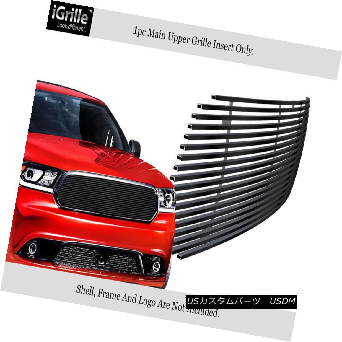 グリル Fits 2014-2018 Dodge Durango Stainless Steel Black Billet Grille 2014-2018 Dodge Durangoステンレススチールブラックビレットグリルに適合