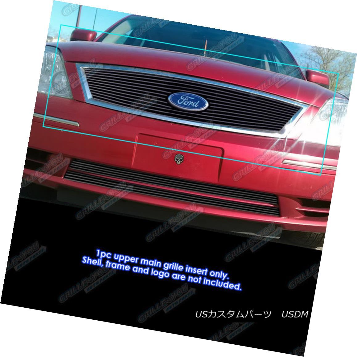 グリル Fits 2005-2007 Ford Five Hundred 500 with logo show Black Billet Grille 2005-2007 Ford Five Hundred 500ロゴ入りブラックビレットグリル