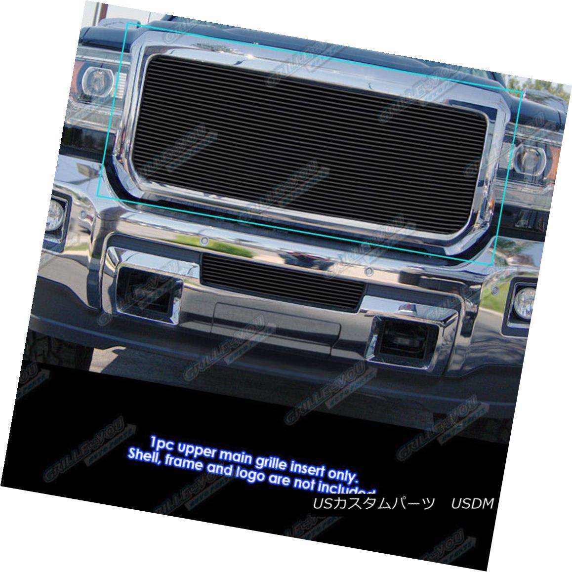 グリル Fits 2015-2017 GMC Sierra 2500/3500 Main Upper Black Billet Grille Insert フィット2015-2017 GMC Sierra 2500/3500メインアッパーブラックビレットグリルインサート