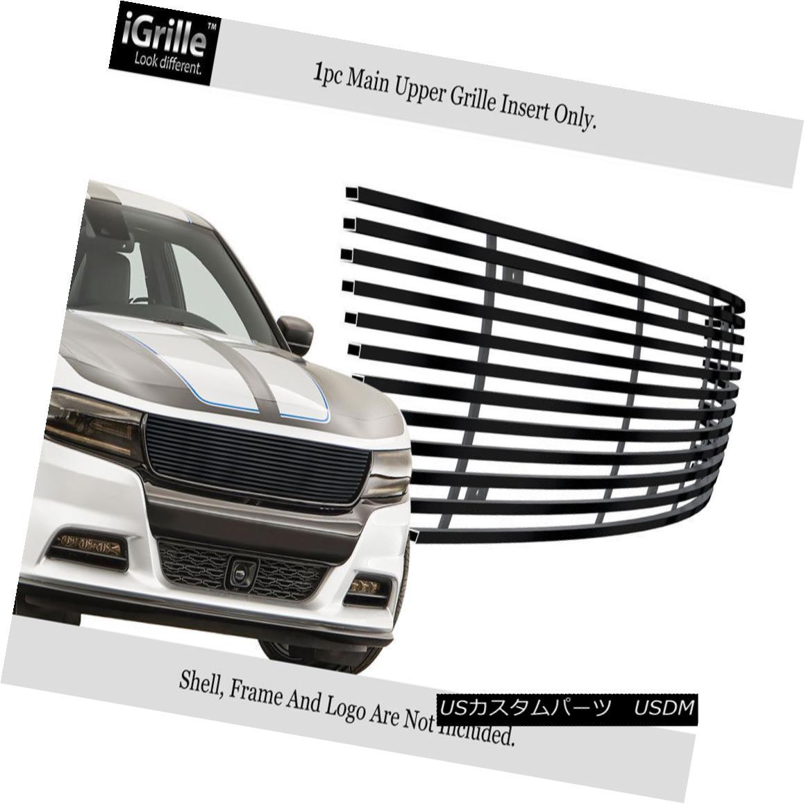 グリル Fits 2015-2018 Dodge Charger Stainless Steel Black Billet Grille フィット2015-2018ダッジチャージャーステンレススチールブラックビレットグリル