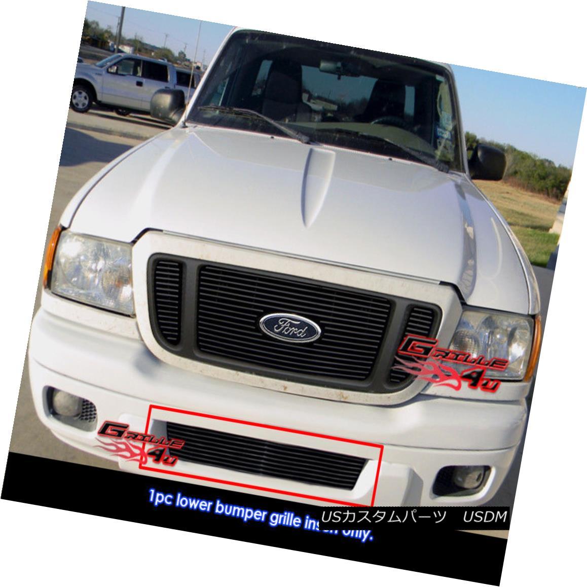 グリル Fits 04-05 Ford Ranger Lower Bumper Black Billet Grille Insert フィット04-05フォードレンジャーロワーバンパーブラックビレットグリルインサート