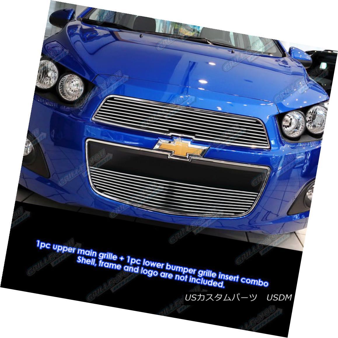 グリル Fits 2012-2016 Chevy Sonic Main Upper Billet Grille Insert フィット2012-2016シボレーソニックメインアッパービレットグリルインサート