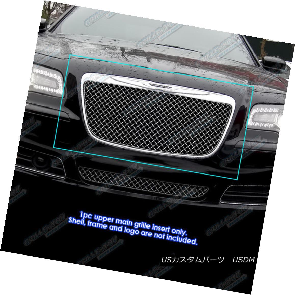 グリル Fits 2011-2014 Chrysler 300/300C 4mm Stainless Steel Wire X Mesh Grille Grill 適合2011-2014クライスラー300 / 300C 4ミリメートルステンレス鋼線Xメッシュグリルグリル