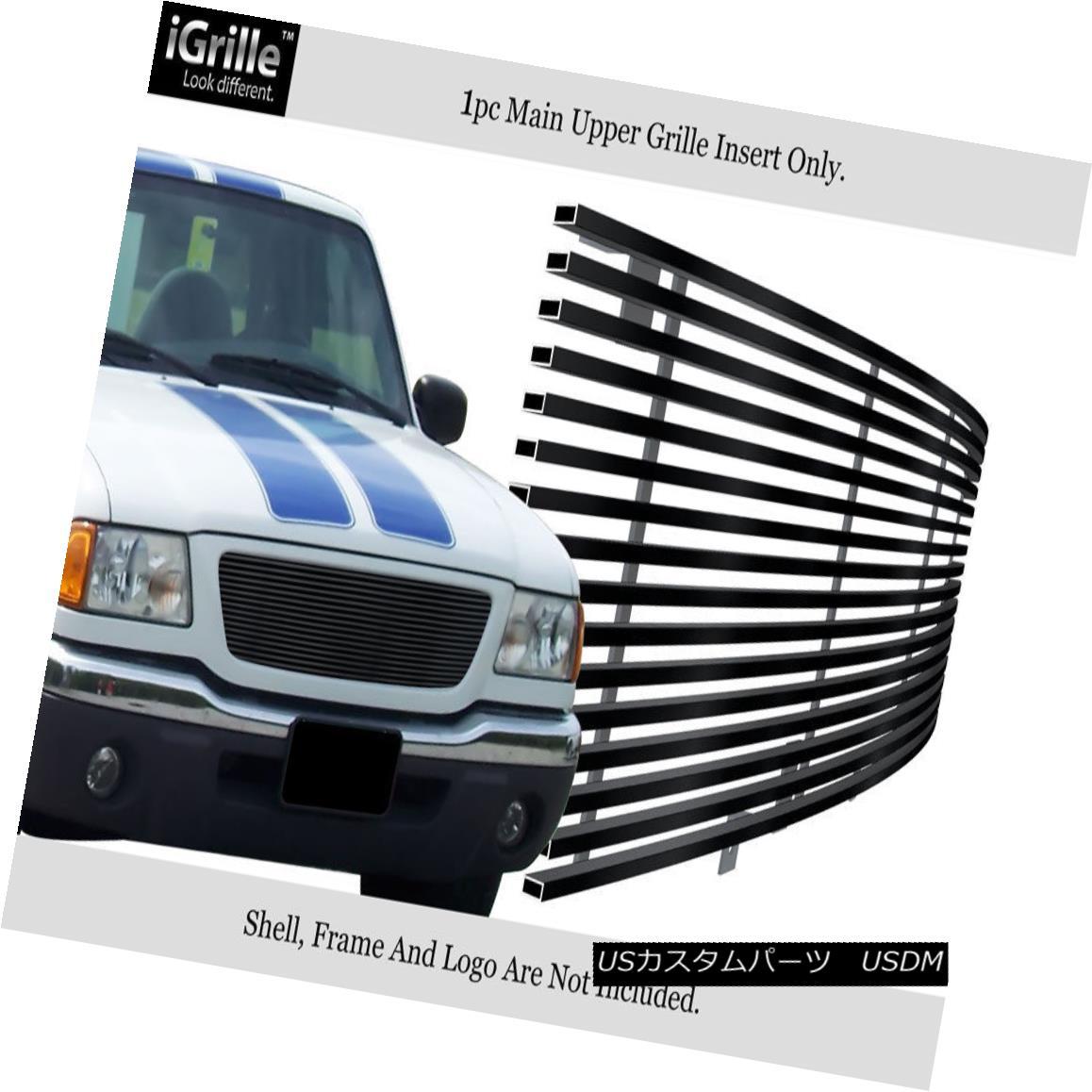 グリル For 01-03 Ford Ranger XLT XL 2WD Stainless Steel Black Billet Grille Insert 01-03フォードレンジャーXLT XL 2WDステンレススチールブラックビレットグリルインサート