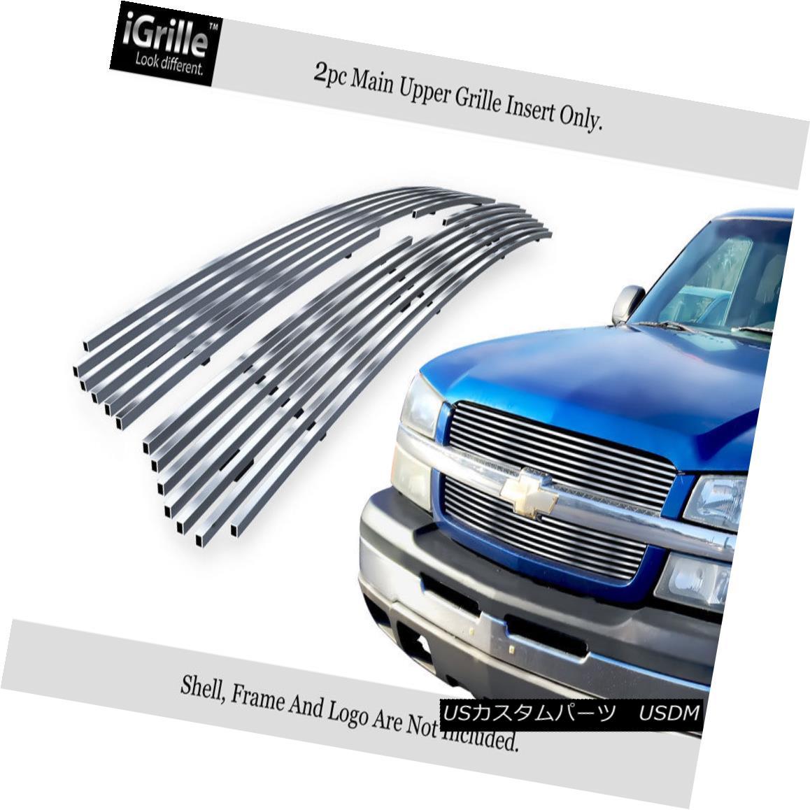 グリル Fits 2003-2005 Chevy Silverado 1500/03-04 2500 Stainless T304 Billet Grille 2003-2005年に合うChevy Silverado 1500 / 03-04 2500ステンレスT304ビレットグリル