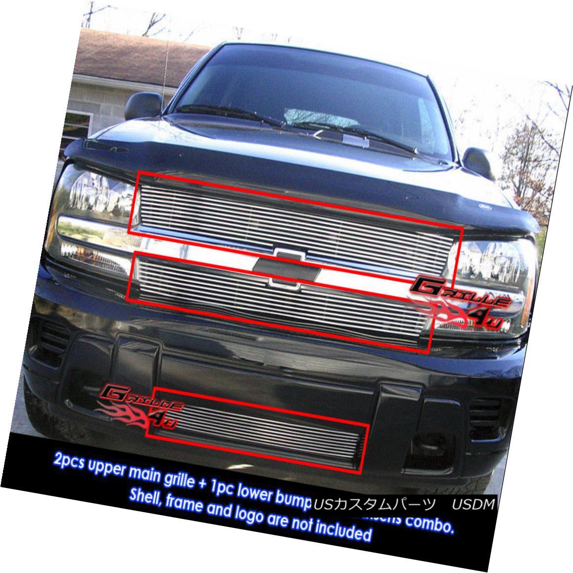 グリル Fits 02-05 Chevy Trailblazer LT/LS/SS Billet Grille Combo フィット02-05シボレートレイルブレイザーLT / LS / SSビレットグリルコンボ
