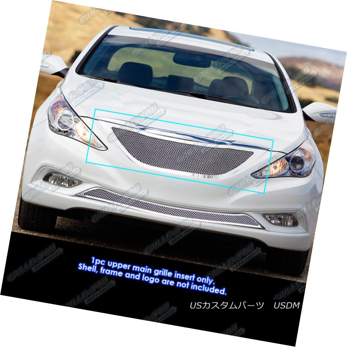 グリル Fits 2011-2012 Hyundai Sonata Stainless Steel Mesh Grille Grill Insert 2011-2012現代ソナタステンレスメッシュグリルグリルインサートに適合