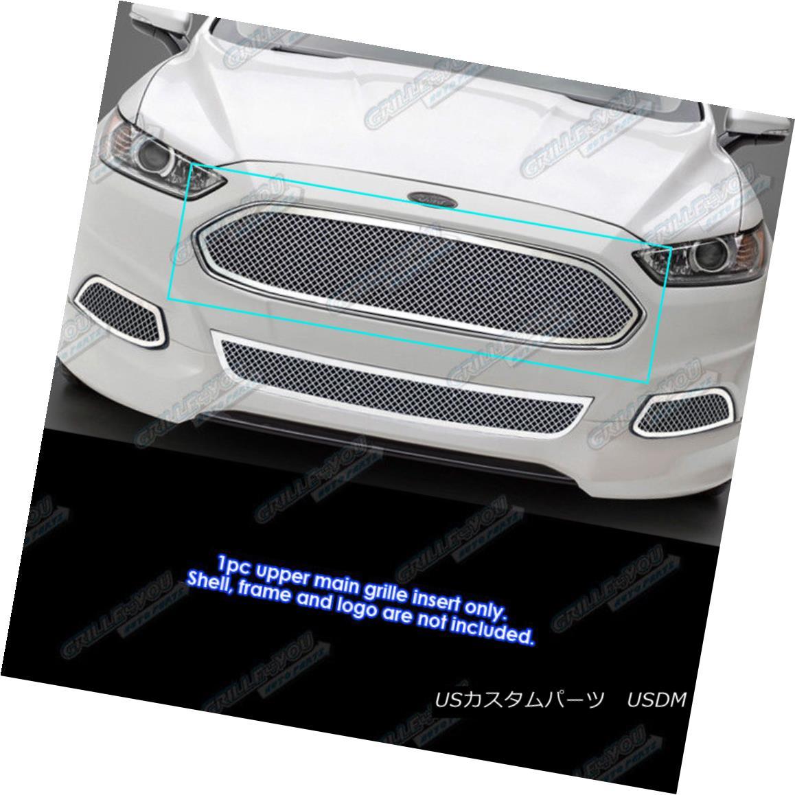 グリル Fits 2013-2016 Ford Fusion Stainless Steel Mesh Grille Inserts フィット2013-2016フォードフュージョンステンレスメッシュグリルインサート