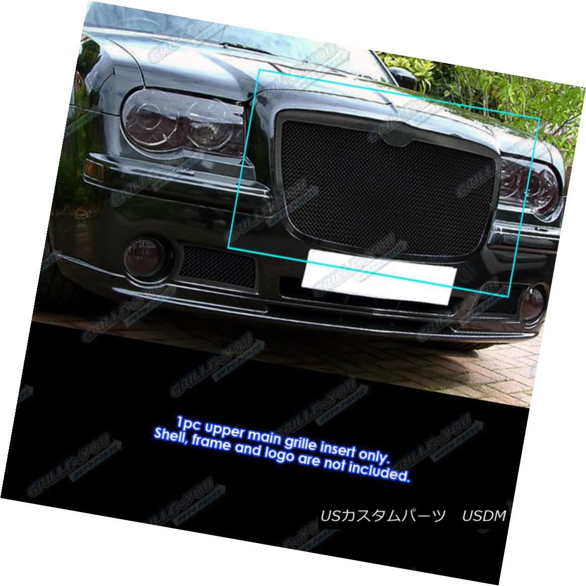 グリル Fits 2005-2010 Chrysler 300/300C Stainless Steel Black Mesh Grille Grill Insert 適合2005-2010クライスラー300 / 300Cステンレススチールブラックメッシュグリルグリルインサート