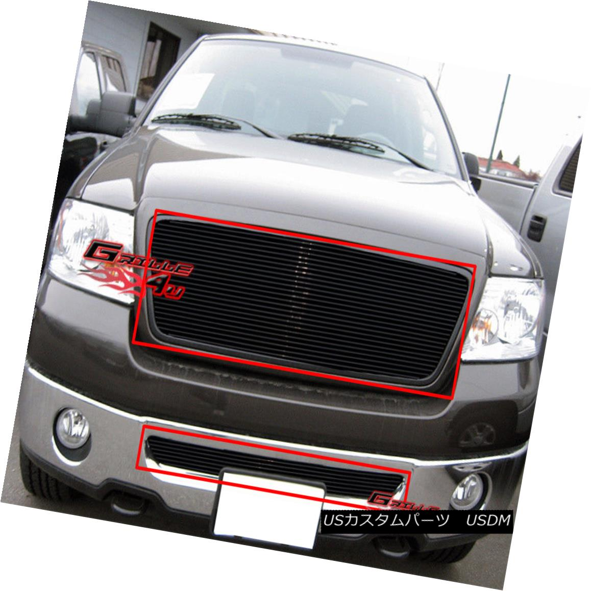 グリル Fits 06-08 Ford F-150 Honeycomb Style Black Billet Grille Combo Insert フィット06-08 Ford F - 150ハニカムスタイルブラックビレットグリルコンボインサート