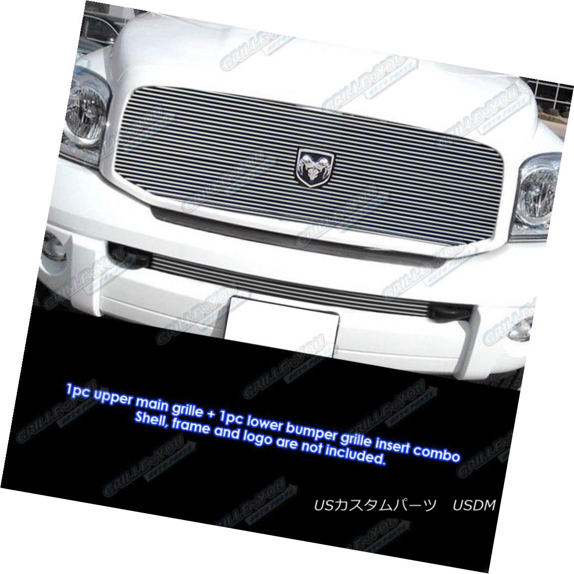 グリル Fits 2006-2008 Dodge Ram Pickup Billet Grille Combo フィット2006-2008ダッジラムピックアップビレットグリルコンボ