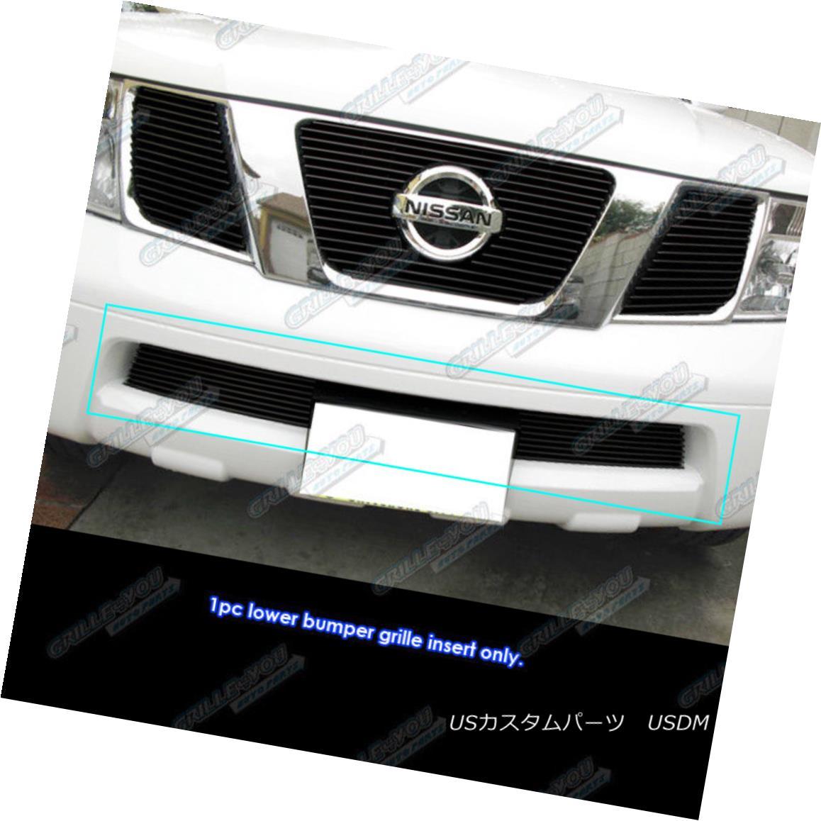グリル Fits 05-18 Nissan Frontier/05-07 Pathfinder Bumper Black Billet Grille Insert フィット05-18日産フロンティア/ 05-07パスファインダーバンパーブラックビレットグリルインサート