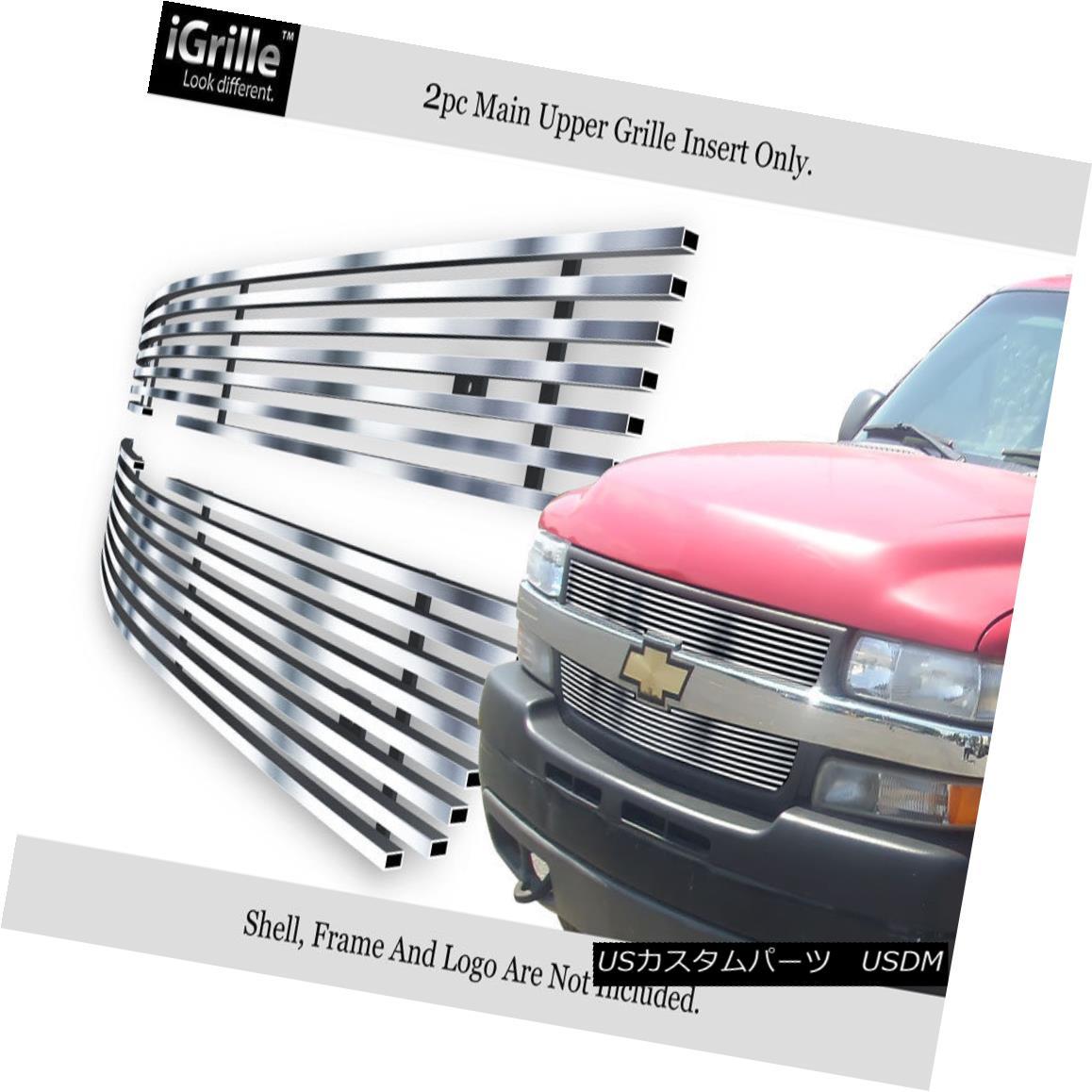 グリル Fits 2001-2002 Chevy Silverado 2500/3500 HD Stainless Steel Billet Grille 2001-2002 Chevy Silverado 2500/3500 HDステンレス鋼ビレットグリルに適合
