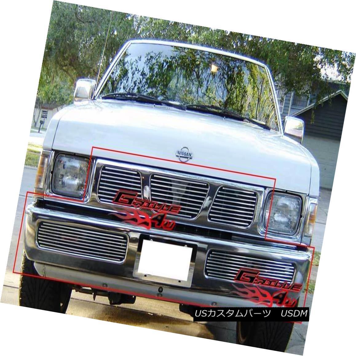グリル Fits 95-97 Nissan Hardbody Billet Grille Combo フィット95-97日産ハードボディービレットグリルコンボ