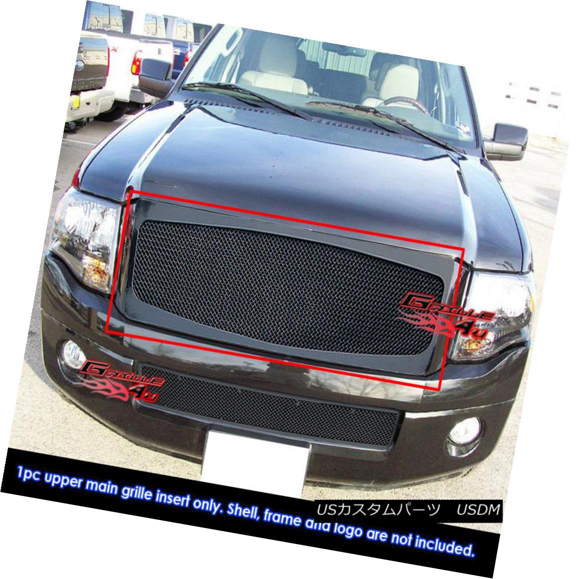 グリル Fits 2007-2014 Ford Expedition Black Stainless Steel Mesh Grille Grill Insert フィット2007-2014フォード遠征ブラックステンレスメッシュグリルグリルインサート