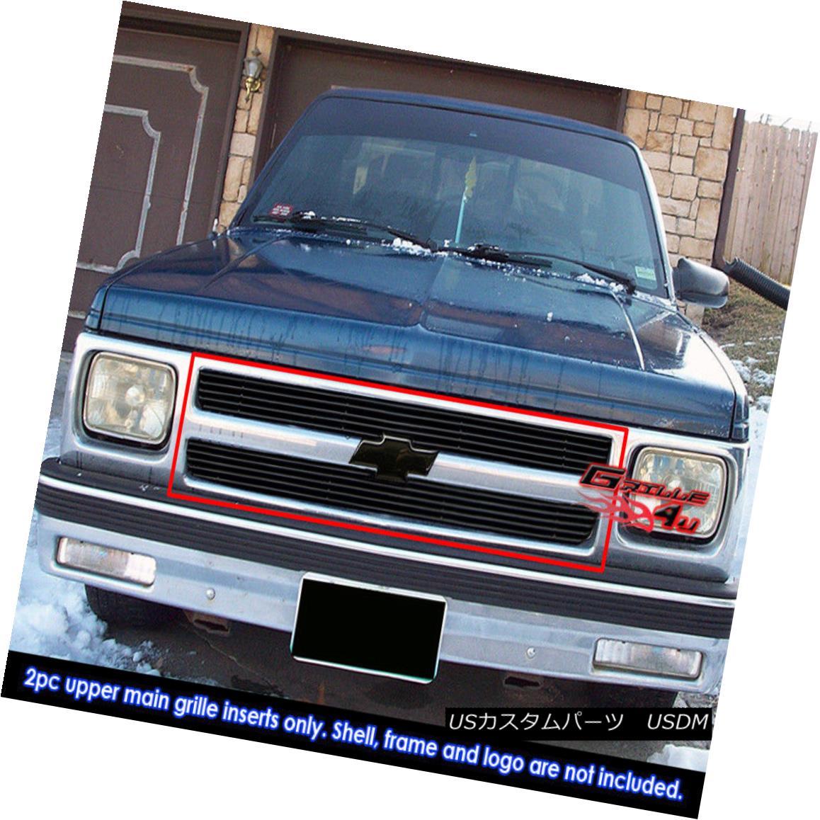 グリル Fits 91-92 Chevy S10 Pickup/91-93 S-10 Blazer Black Billet Grille Insert フィット91-92シボレーS10ピックアップ/ 91-93 S-10ブレザーブラックビレットグリルインサート