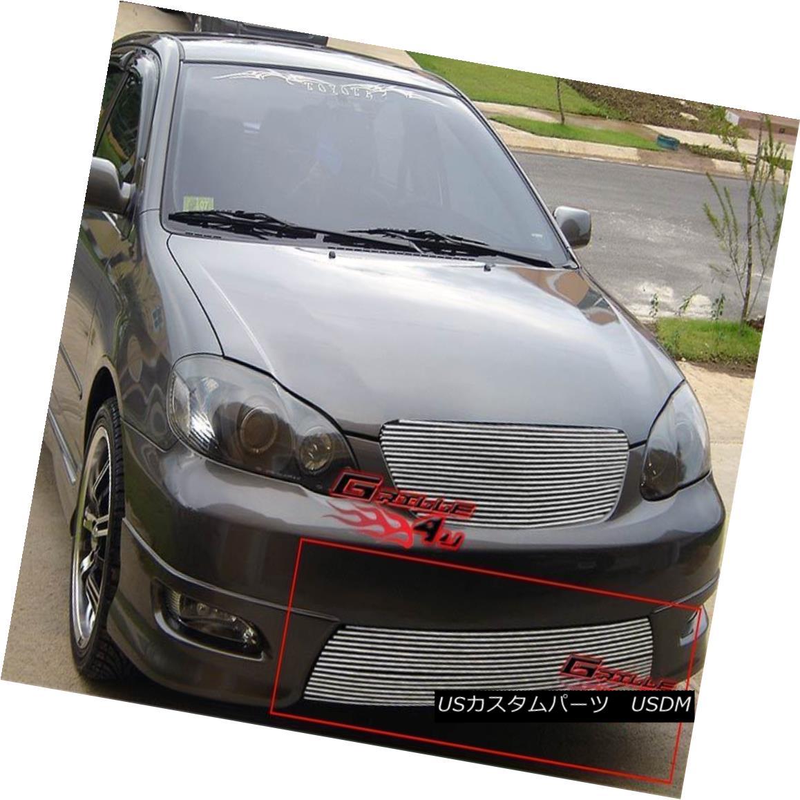 グリル Fits 2005-2008 Toyota Corolla Lower Bumper Billet Grille Insert フィット2005-2008トヨタカローラロワーバンパービレットグリルインサート