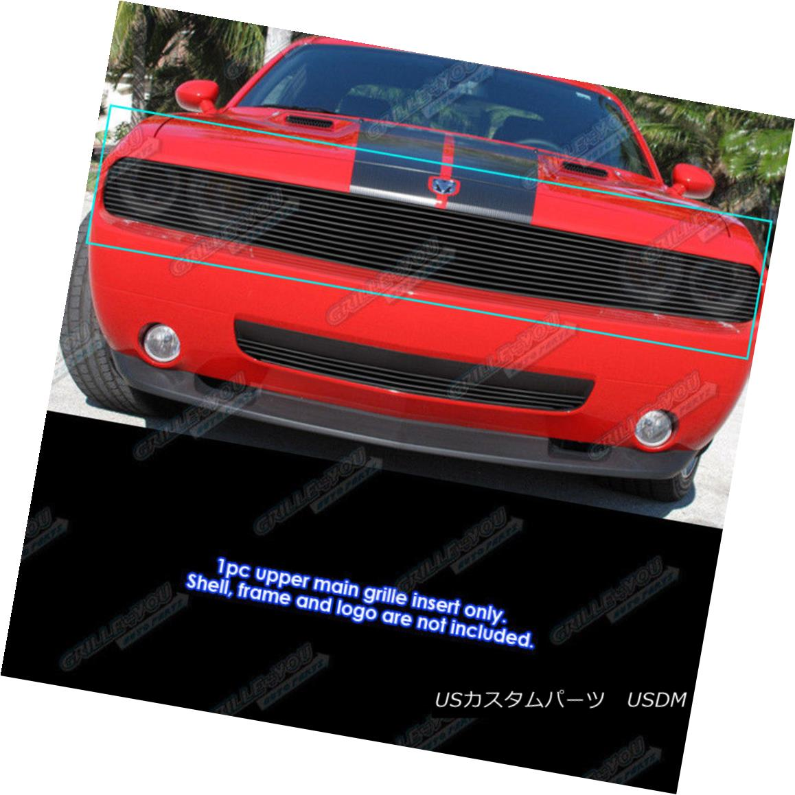 グリル Fits 2009-2014 Dodge Challenger Phantom Black Billet Grille Insert フィット2009-2014ダッジチャレンジャーファントムブラックビレットグリルインサート