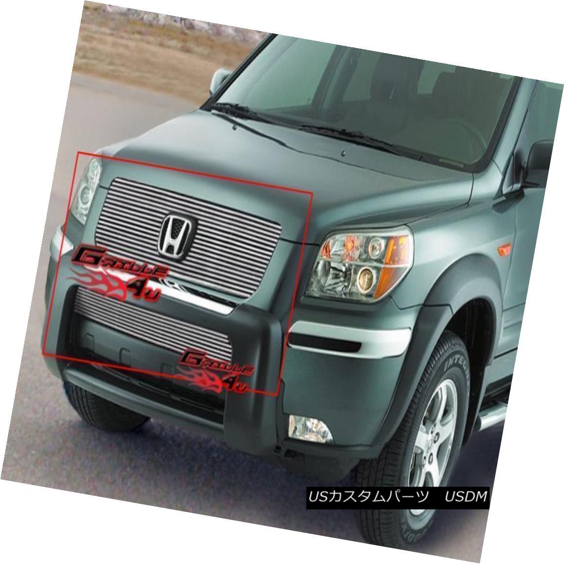 グリル Fits 2006-2008 Honda Pilot Billet Grille Combo 2006?2008年のホンダパイロットビレットグリルコンボに適合